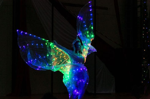 performer with led light wings in the dark Wellington New Zealand
