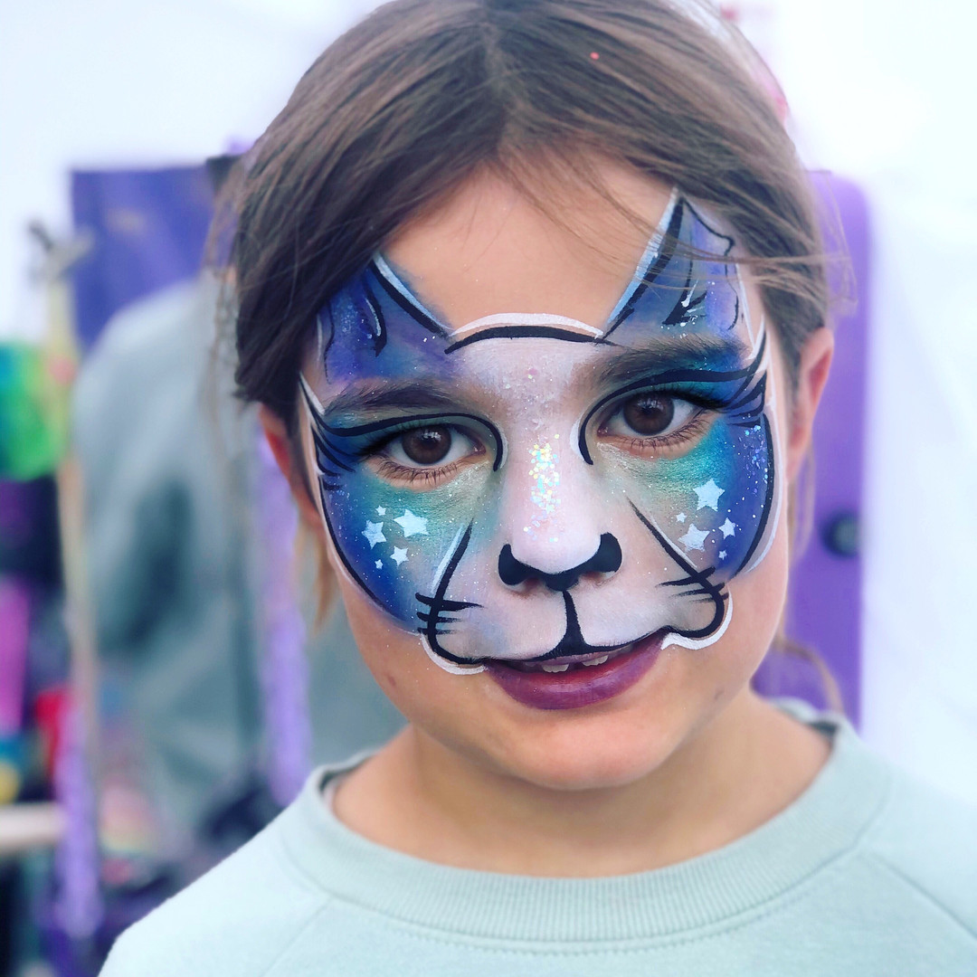 Galaxy space Kitty cat face painting