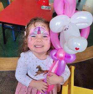 unicorn face painting and balloon twisting Wellington New Zealand