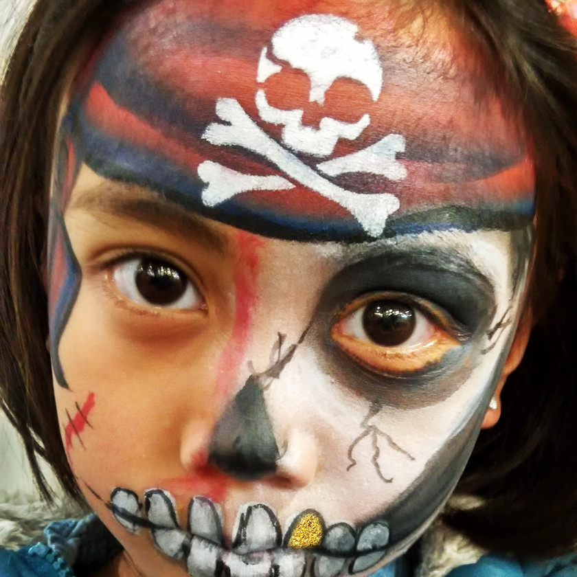 skull pirate girl Halloween face painting wellington New Zealand