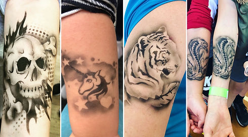 airbrush tattoos skull unicorn tiger snakes Wellington New Zealand