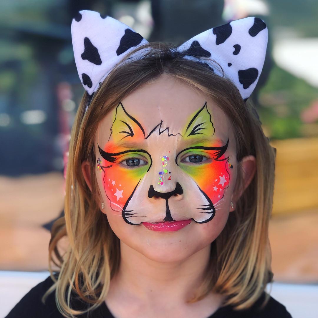 Rainbow cat Kitty face paint