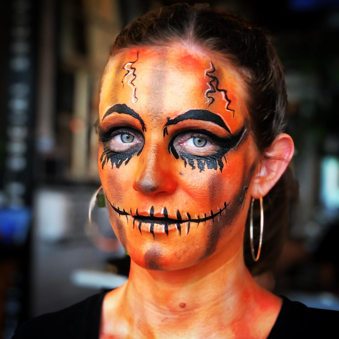 Pumpkin Halloween adult face paint