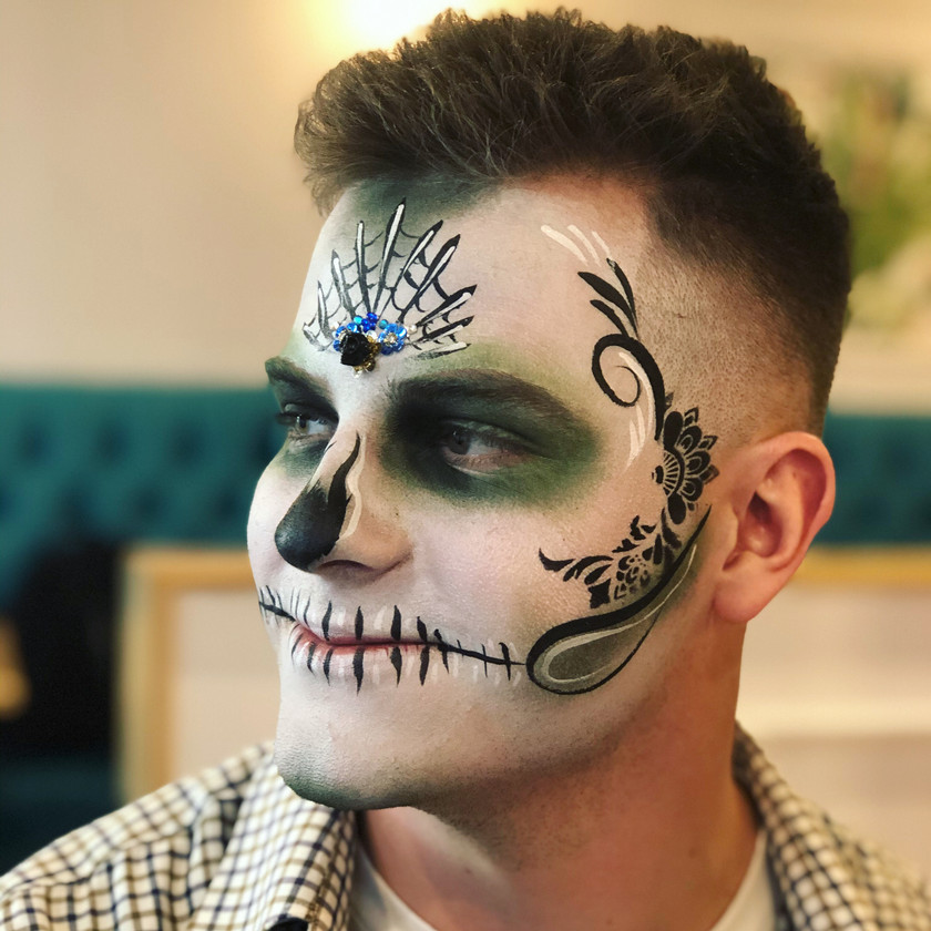 sugar skull man Day of the Dead face painting wellington New Zealand