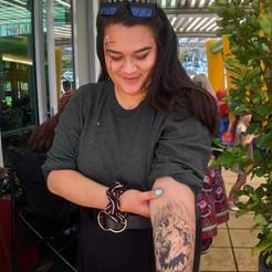 Lion airbrush temp tattoo