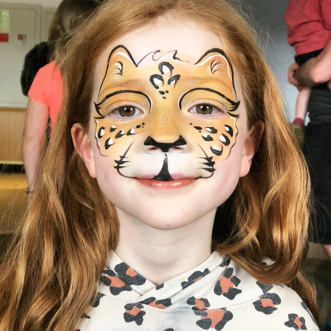 Cheetah Leopard wild cat face paint