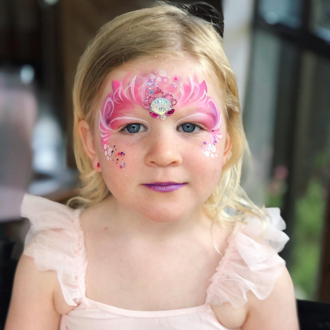 Pink princess face paint