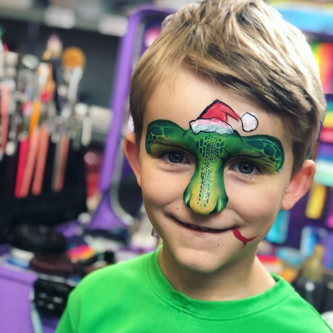 Christmas lizard face painting