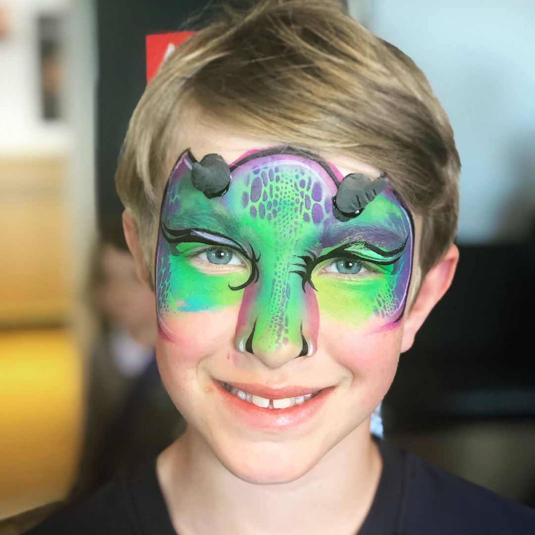 Green dragon face paint