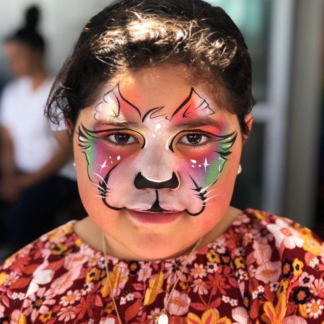 Rainbw kitty cat face paint