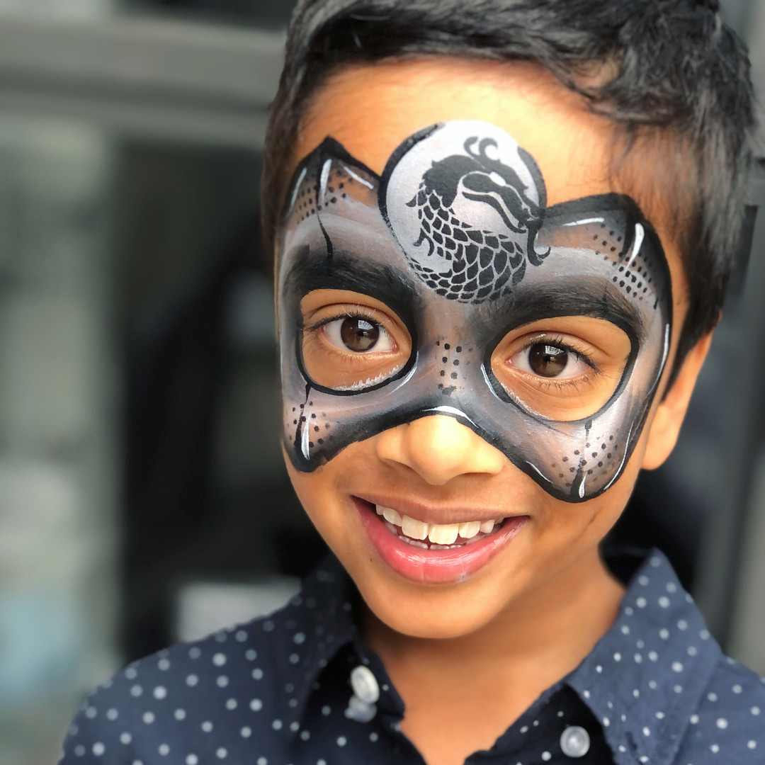 Ninja dragon mask face paint