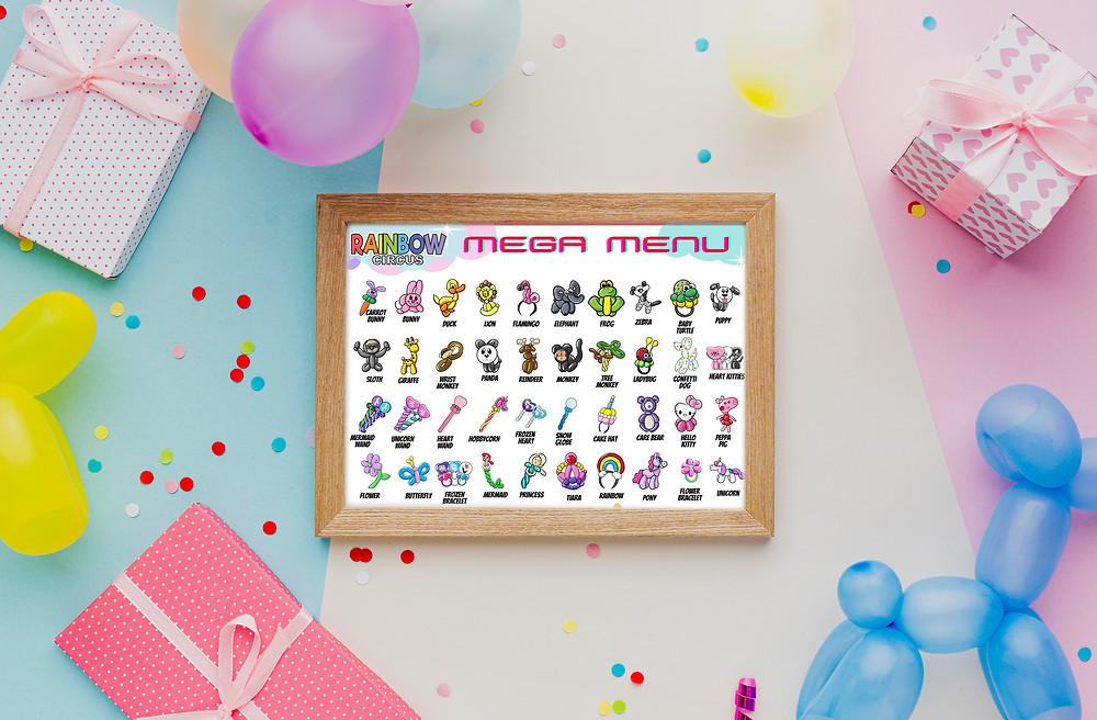Balloon animal twisting menu for kids parties