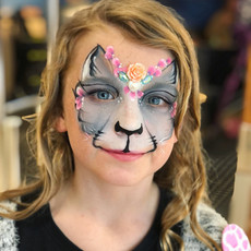 grey flower cat face painting
