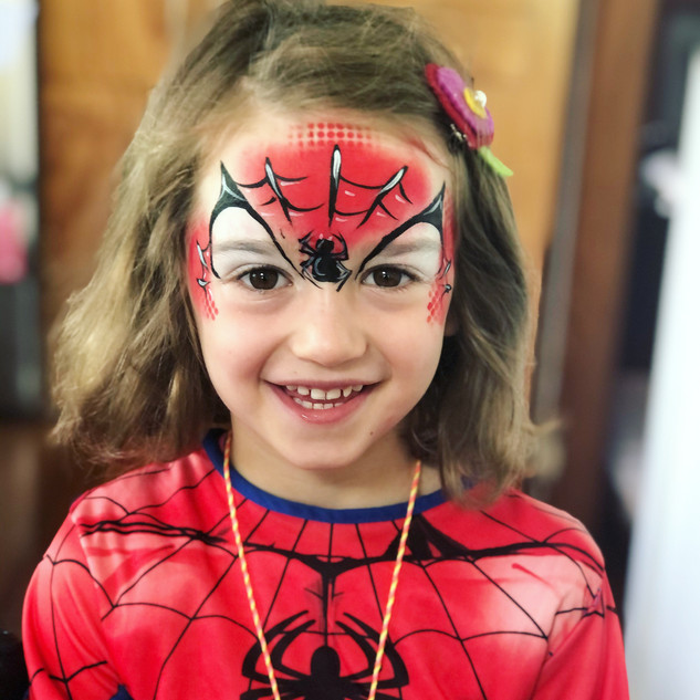 Spiderman girl face painting