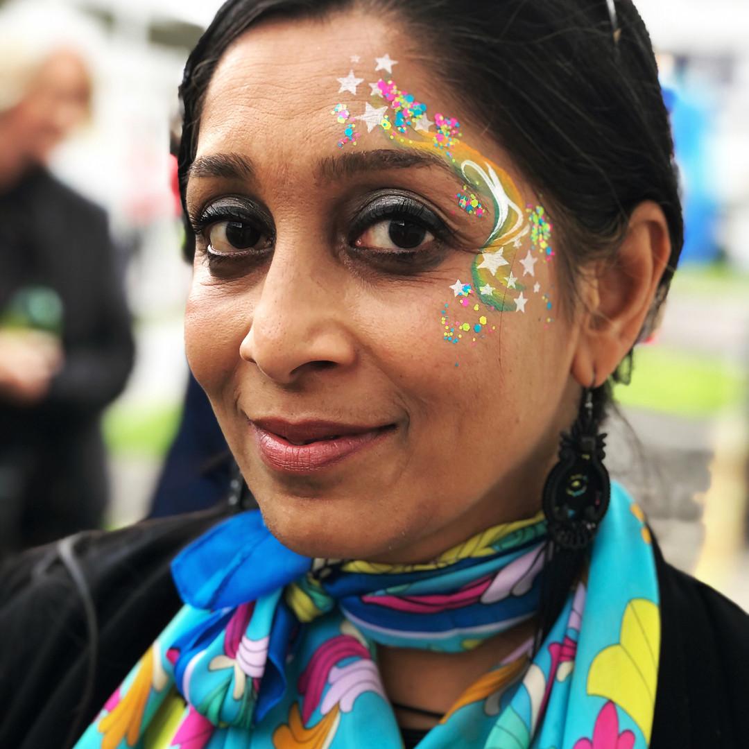 Rainbow star face paint