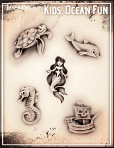 Kids Temporary Airbrush Tattoos mermaid dolphin turtle sea pirate Wellington New Zealand