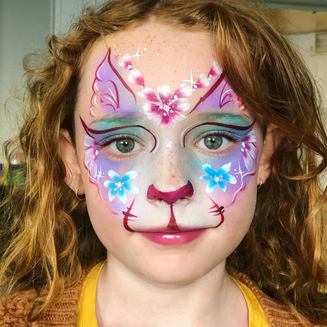 Flower kitty cat face paint