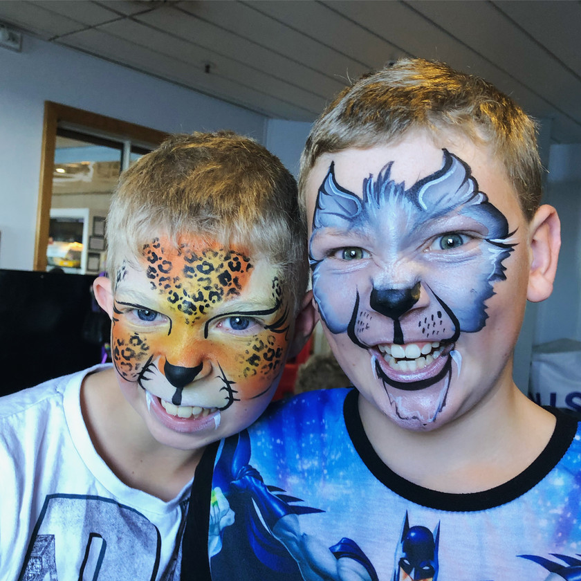 Cheetah and wolf boy face painting Jungle Wellington New Zealand