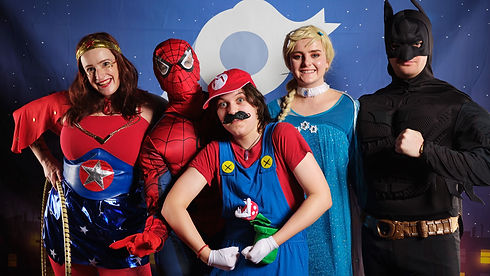 characters in costume wonder woman spiderman mario elsa frozen and batman Wellington New Zealand
