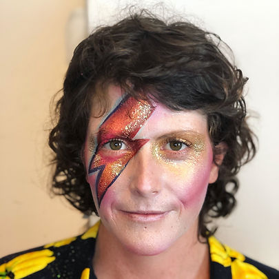 woman with david bowie lightning bolt face paint Wellington New Zealand