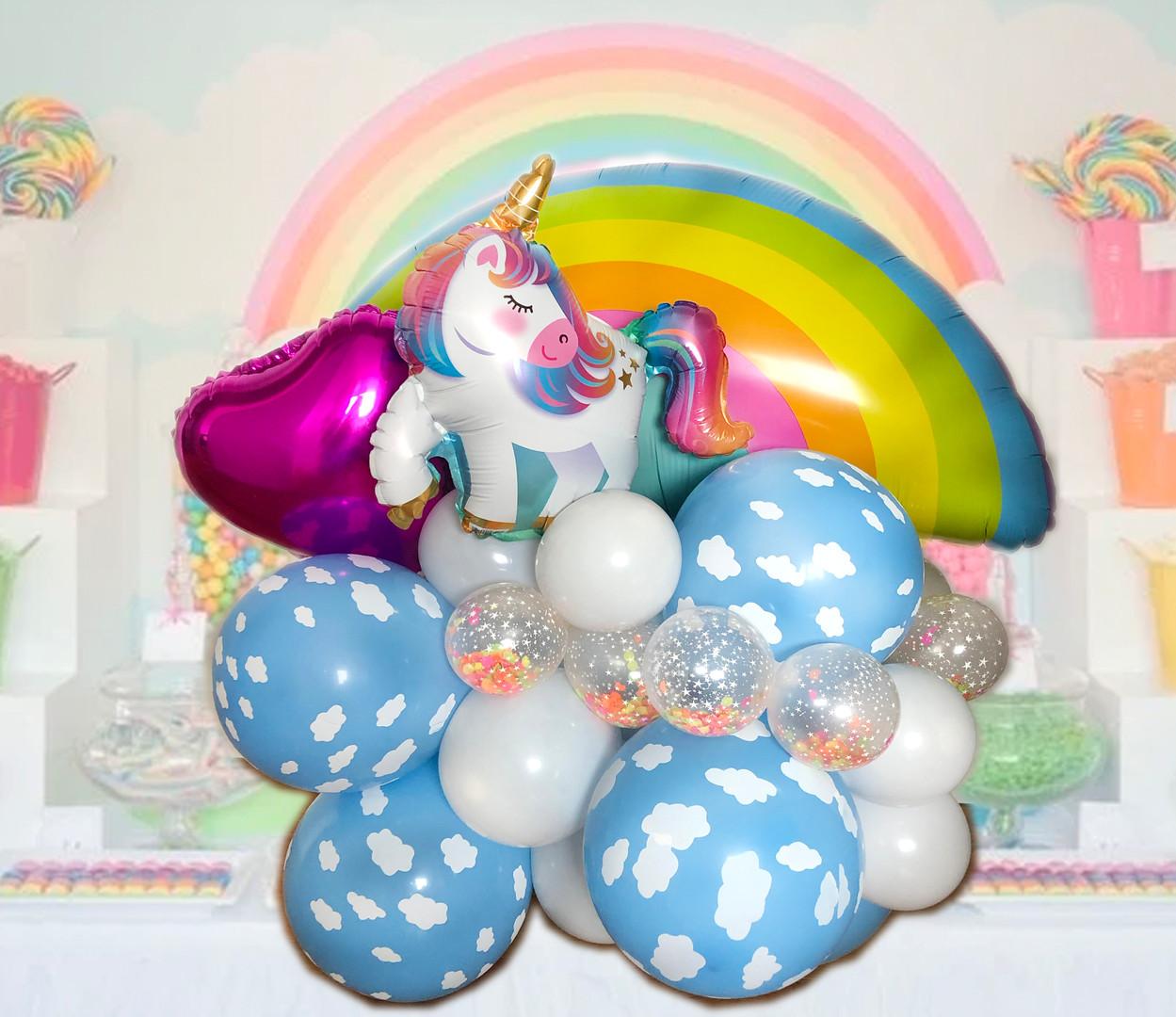 rainbow unicorn balloon centrepiece