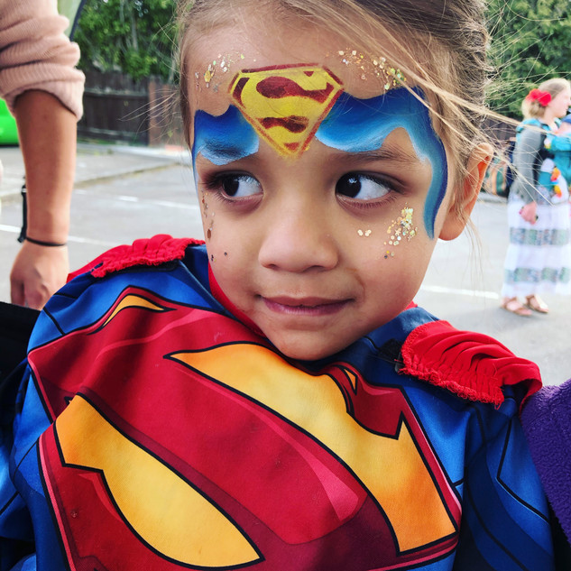 Superman kids face paint