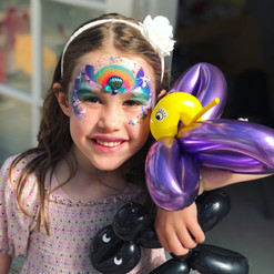 mermaid face painting and balloon