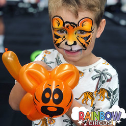 tiger face painting and balloon