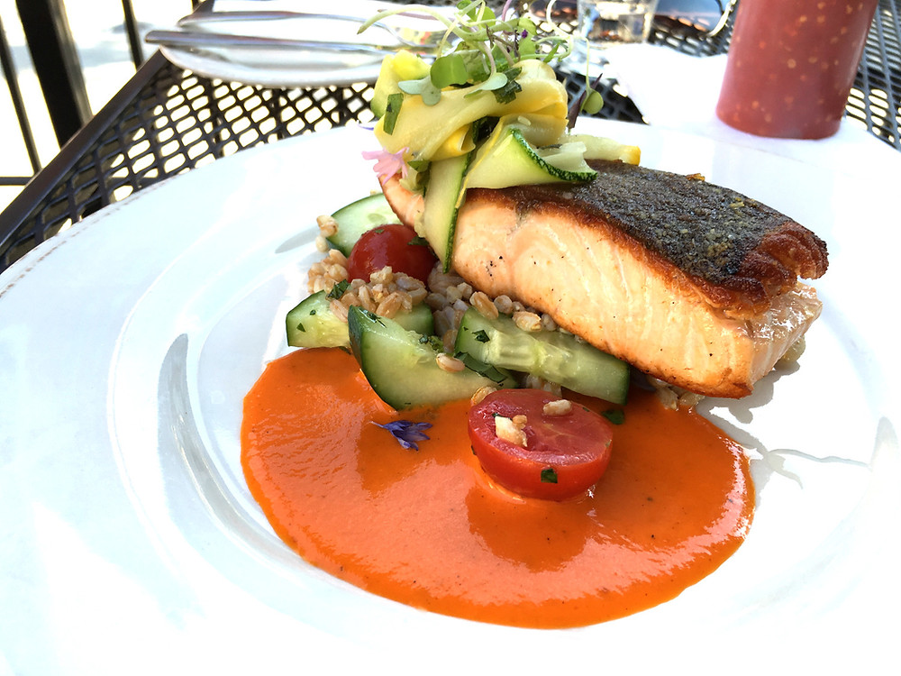 Farmhouse Tap & Grill Cast Iron Seared Atlantic Salmon