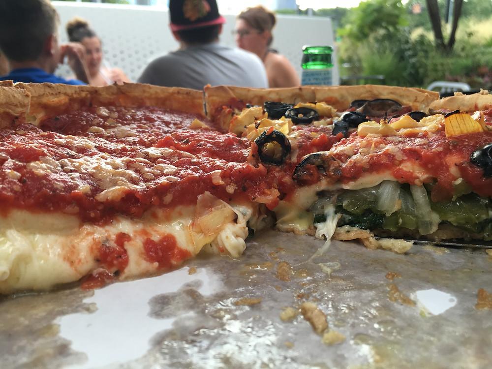Giordano's Stuffed Deep Dish Pizza - Half Cheese and Half Veggie