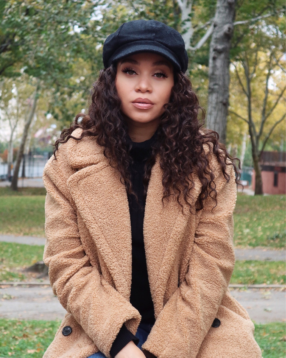 Teddy Coat and baker boy hat