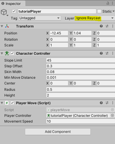 "Player controller set to ""Ignore Raycast"" layer"