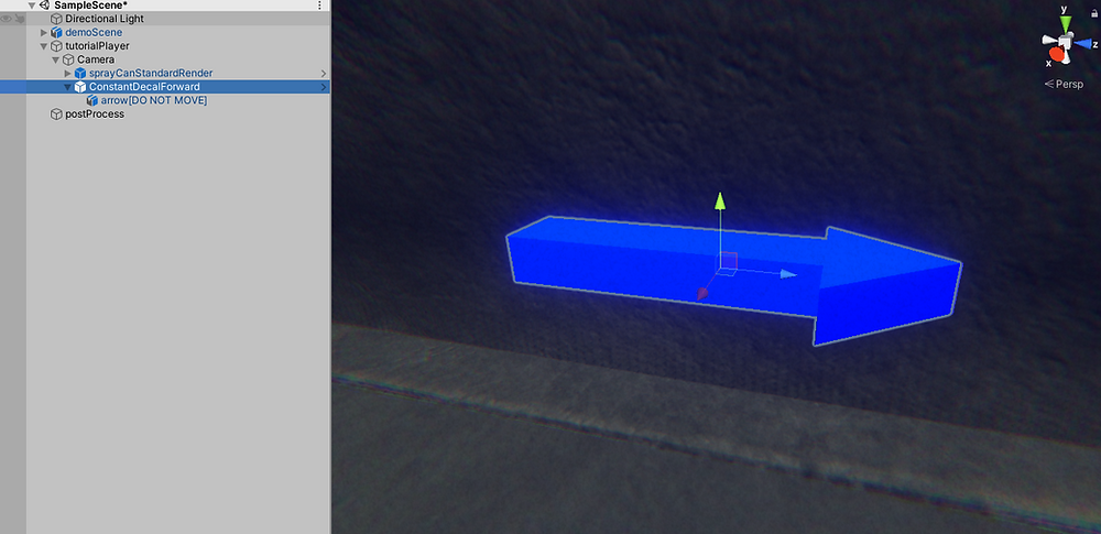 "Close up of ""Constant Decal Forward"" prefab in Unity"