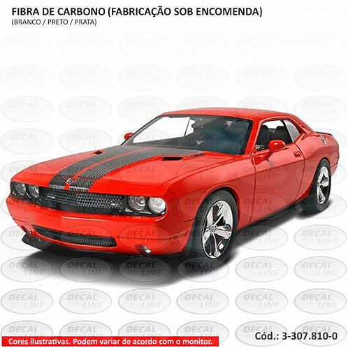Faixa Auto Adesiva Dodge Challenger - Capô - Fibra De Carbono