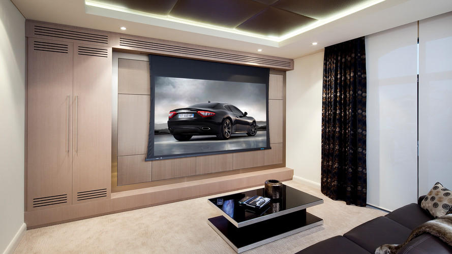 Home entertainment system with projector and drop down projection screen with iPad control using a single app