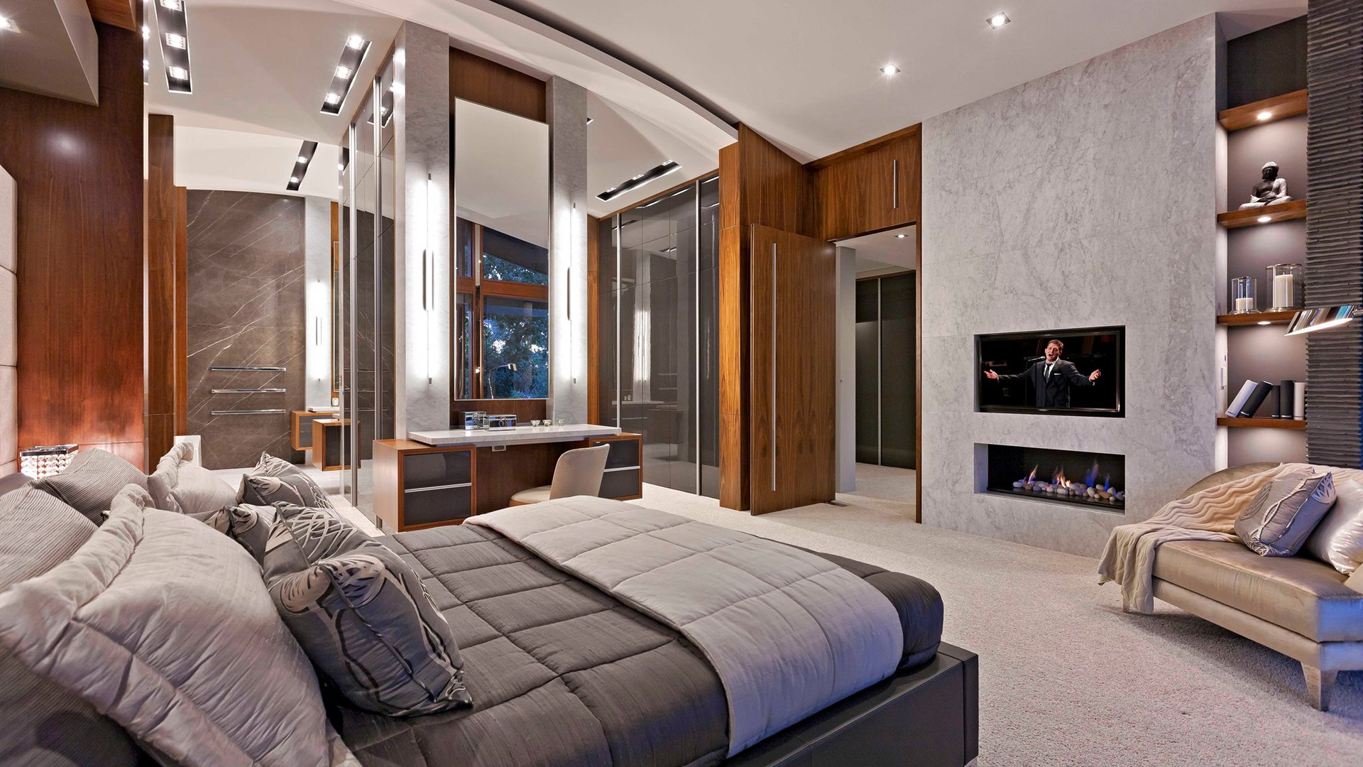 Master bedroom with lighting control using C-bus as well as audiovisual control with CCTV and security
