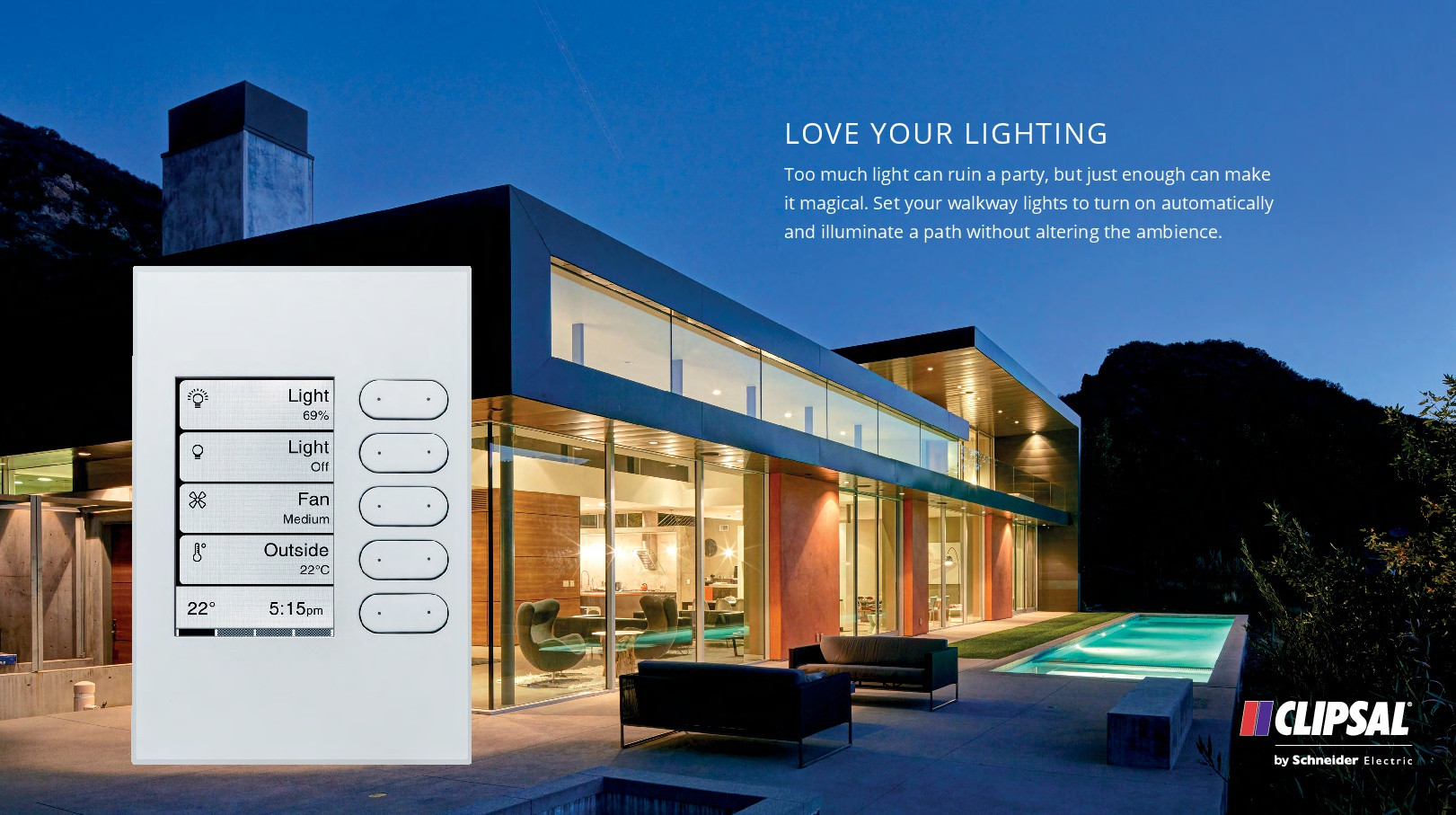 The clipsal C-bus edlt switch with lighting control and home automation and energy management