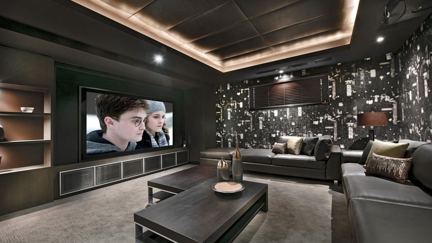 Home cinema using a projector with lighting control and streaming content like Netflix
