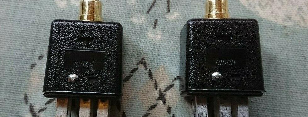 Quad II Jones 6 pin to RCA/phono adaptor one pair: Gold plated phono blue/yellow