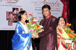 Anirban Felicitating his mother