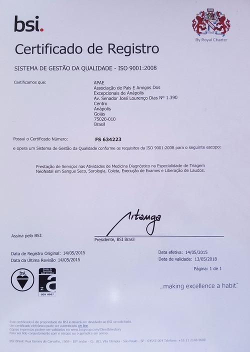 2015 - O Laboratório recebe a certificação ISO 9001:2008