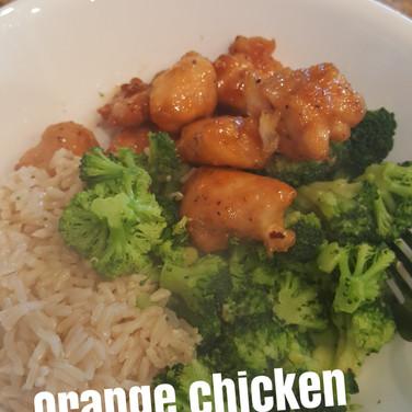 orange chicken brn rice