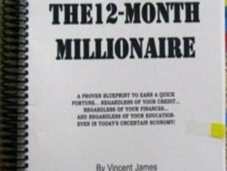 JAMES VINCENT'S ORIGINAL 12 MONTH MILLIONAIRE Copywriting, Direct Mail