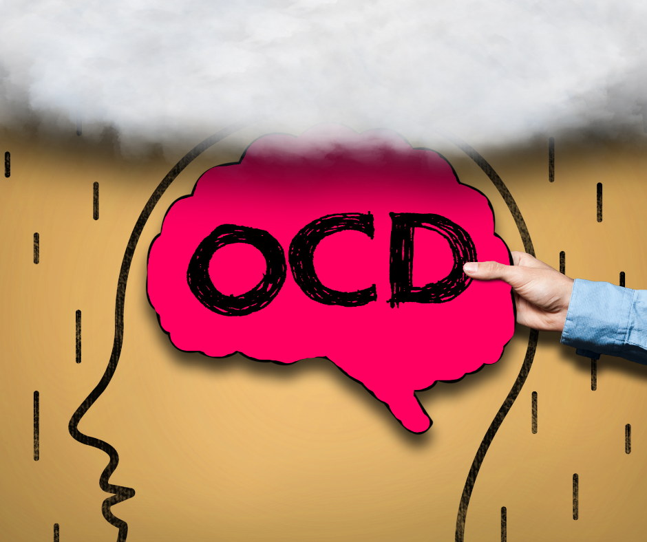 A carboard background with an drawing of a human head, someone holding a brain shaped cut out with the text 'OCD' sits on top. A cloud is over the top of the image.