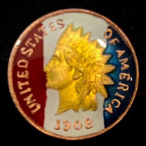 US INDIAN HEAD PENNY - FLAG COLORS