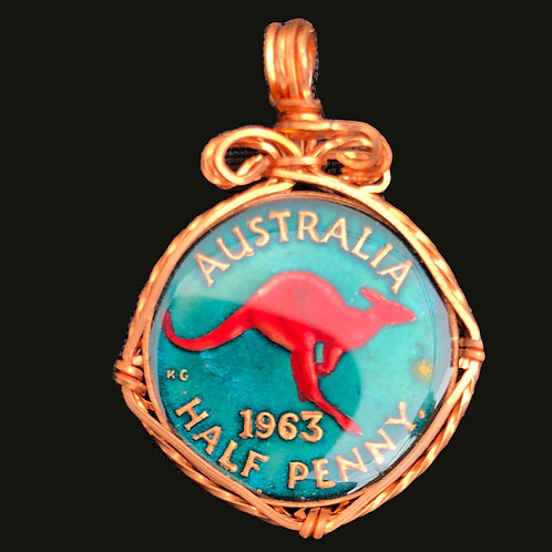 AUSTRALIA - HALF PENNY (TEAL BKGRD)