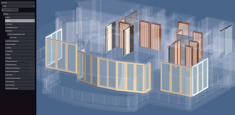 3d Revit model with window and door inventory and measurements.