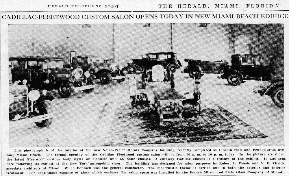 The Miami Beach Cadillac Salon as featured in the Miami Herald on opening day, January 24, 1930.