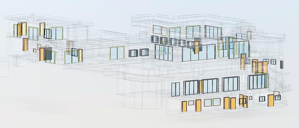 BIM showing windows and door layer