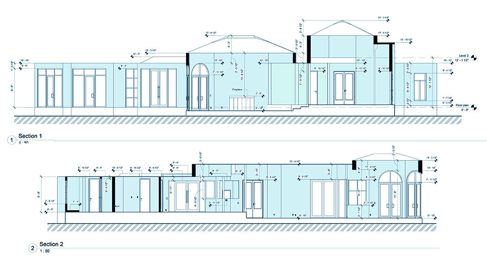 Side elevations of a split-level Boca Raton, Florida residence.